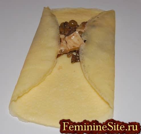 Рецепт блинчиков с грибами - наполнение начинкой
