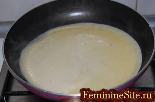 Рецепт блинчиков с грибами - тесто на сковороду
