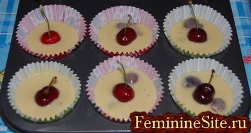 Рецепт кексов с вишней - фото