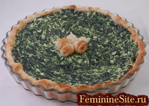 Рецепт пирога со шпинатом и сыром плюс фото