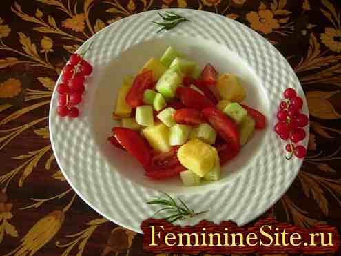 салат с ананасами и с помидорами - фото №1